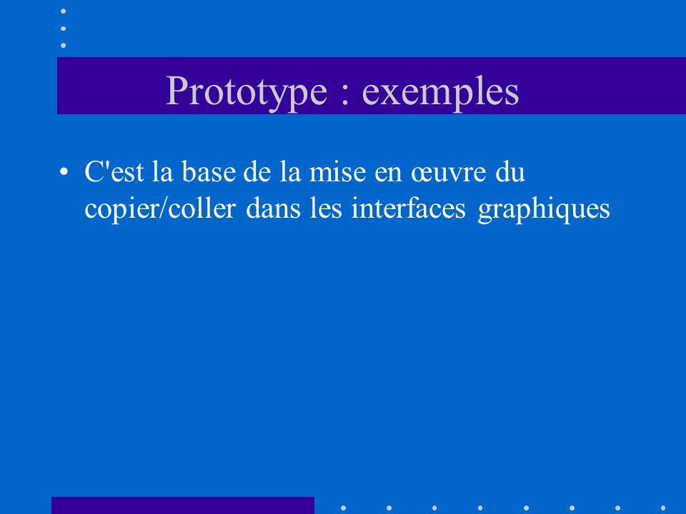 Prototype : exemples C'est la base de la mise en œuvre du copier/coller dans les interfaces graphiques