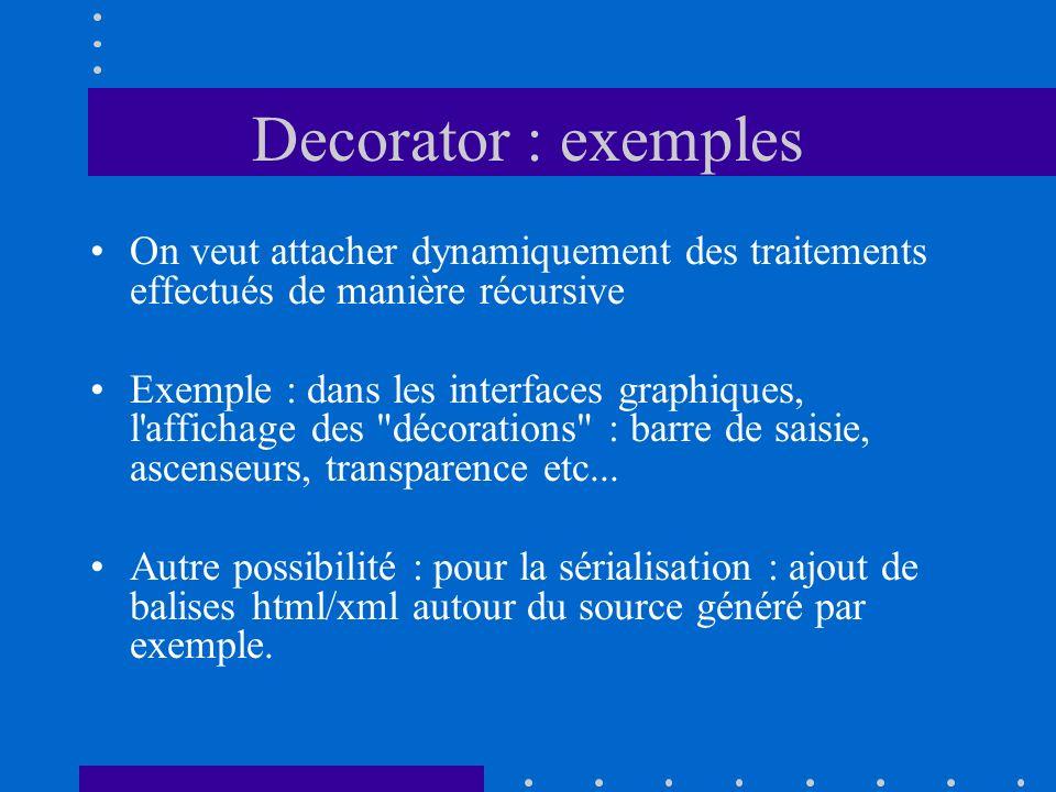 Decorator : exemples On veut attacher dynamiquement des traitements effectués de manière récursive Exemple : dans les interfaces graphiques, l'afficha