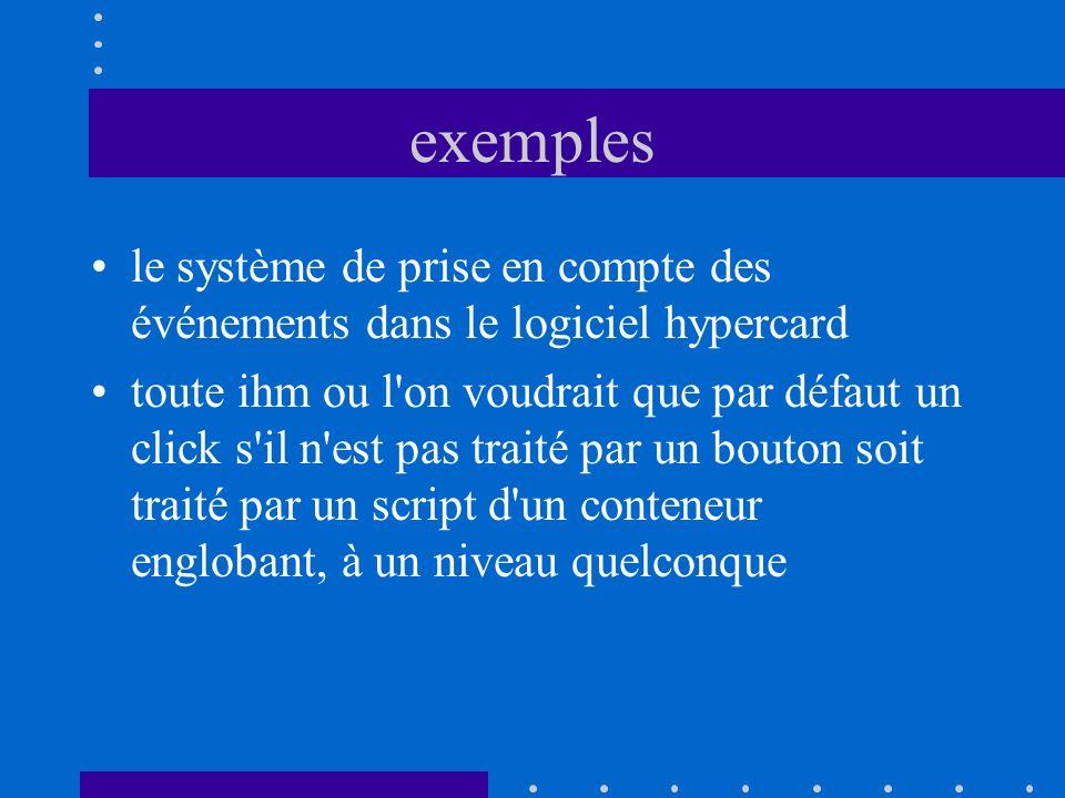 exemples le système de prise en compte des événements dans le logiciel hypercard toute ihm ou l'on voudrait que par défaut un click s'il n'est pas tra