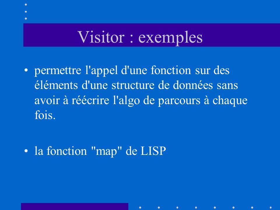 Visitor : exemples permettre l'appel d'une fonction sur des éléments d'une structure de données sans avoir à réécrire l'algo de parcours à chaque fois