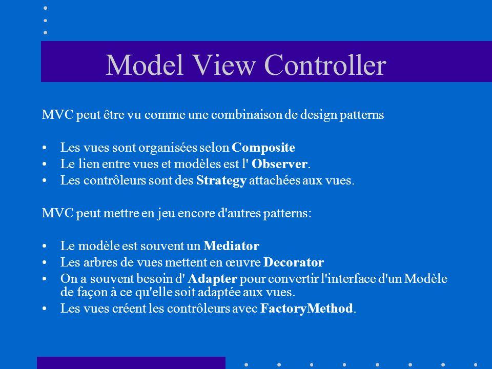 MVC peut être vu comme une combinaison de design patterns Les vues sont organisées selon Composite Le lien entre vues et modèles est l' Observer. Les