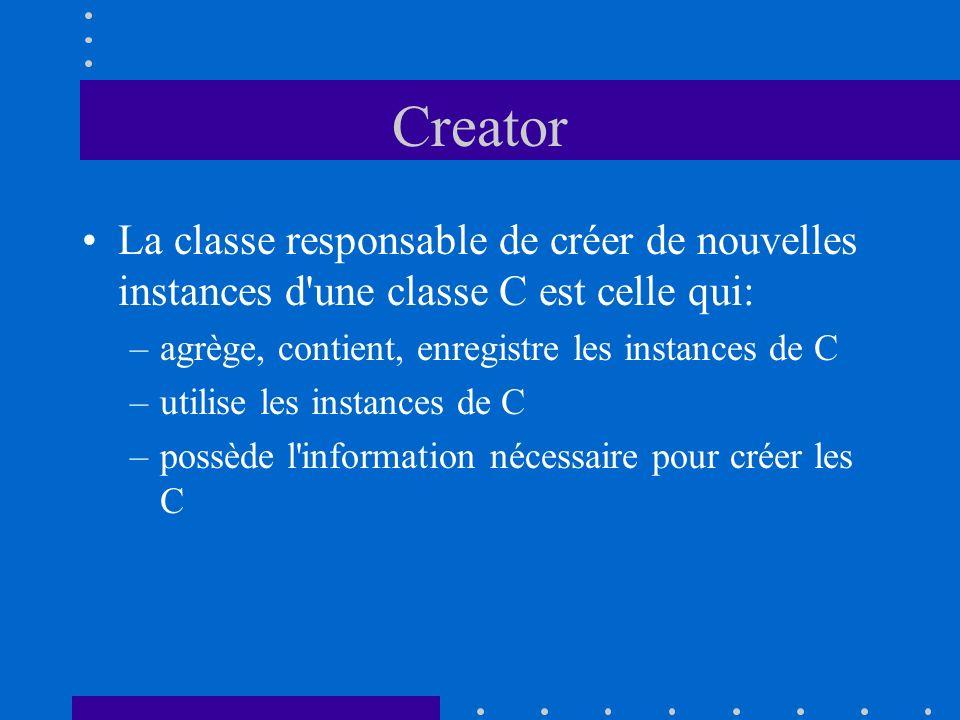 Creator La classe responsable de créer de nouvelles instances d'une classe C est celle qui: –agrège, contient, enregistre les instances de C –utilise