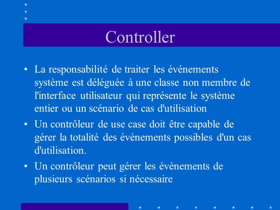 Controller La responsabilité de traiter les événements système est déléguée à une classe non membre de l'interface utilisateur qui représente le systè