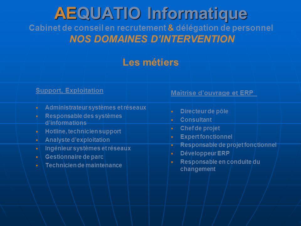AEQUATIO Informatique AEQUATIO Informatique Cabinet de conseil en recrutement & délégation de personnel NOS DOMAINES DINTERVENTION Les métiers Support