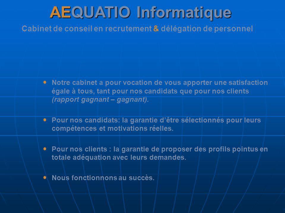 Historique AEQUATIO Le cabinet de recrutement AEQUATIO existe depuis plus de 5 ans dans le secteur du BTP et aujourdhui de lInformatique.