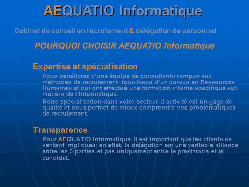 AEQUATIO Informatique Cabinet de conseil en recrutement & délégation de personnel POURQUOI CHOISIR AEQUATIO Informatique Nous proposons un entretien avec nos clients pour permettre de: Définir ensemble les profils attendus.