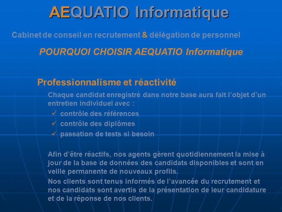 AEQUATIO Informatique Cabinet de conseil en recrutement & délégation de personnel POURQUOI CHOISIR AEQUATIO Informatique Professionnalisme et réactivi