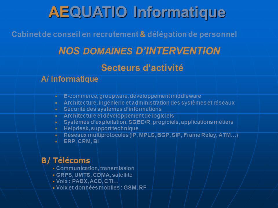 AEQUATIO Informatique Cabinet de conseil en recrutement & délégation de personnel NOS DOMAINES DINTERVENTION A/ Informatique E-commerce, groupware, dé