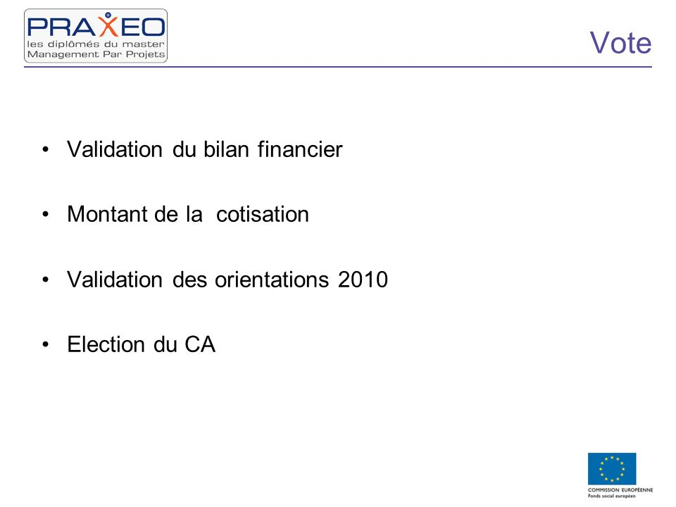 Vote Validation du bilan financier Montant de la cotisation Validation des orientations 2010 Election du CA
