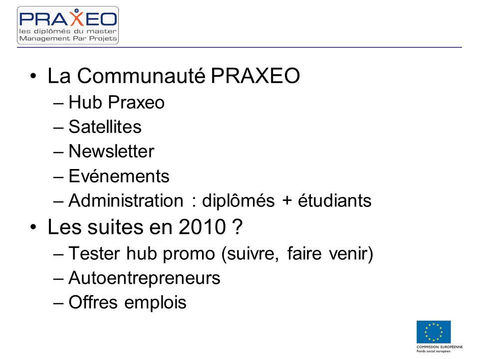 La Communauté PRAXEO –Hub Praxeo –Satellites –Newsletter –Evénements –Administration : diplômés + étudiants Les suites en 2010 ? –Tester hub promo (su