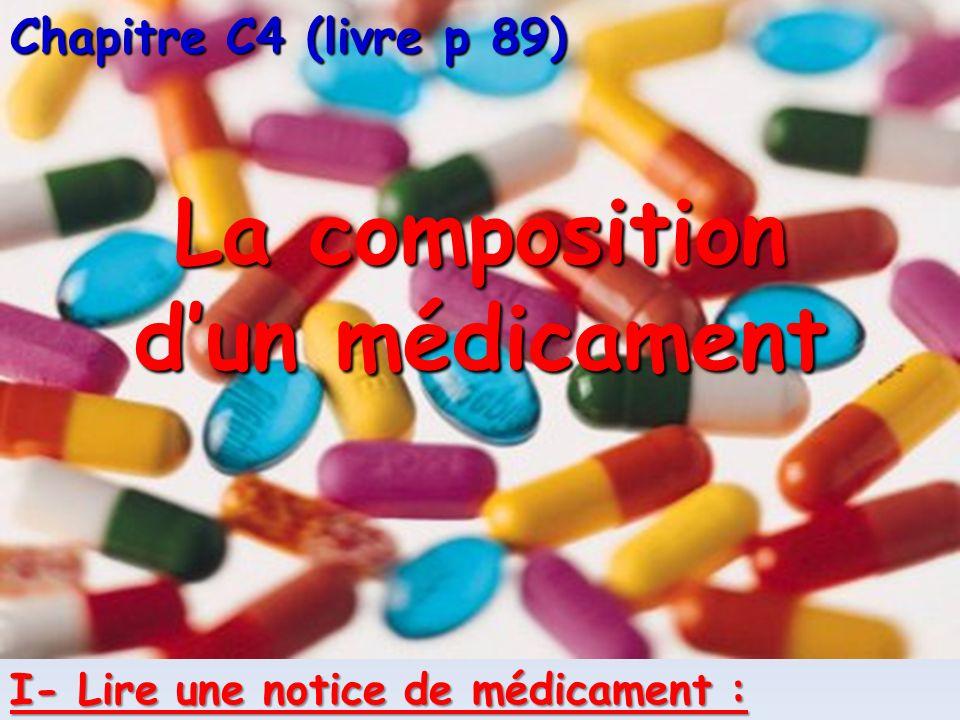Chapitre C4 (livre p 89) La composition dun médicament I- Lire une notice de médicament :