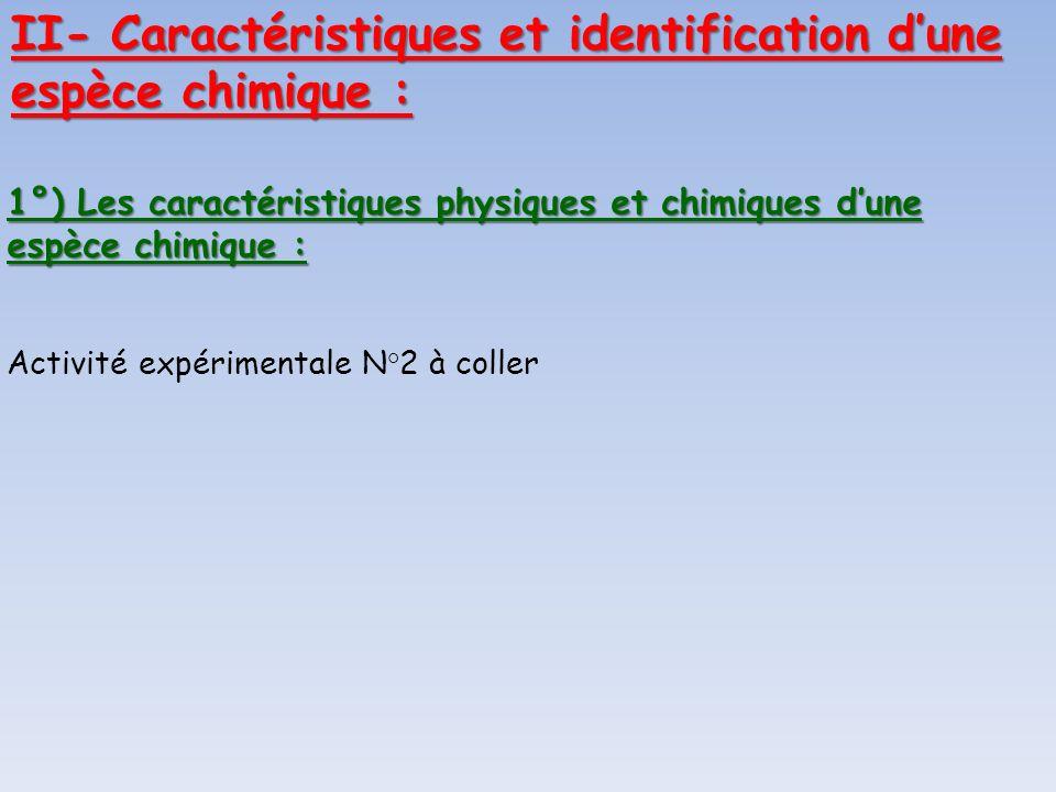1°) Les caractéristiques physiques et chimiques dune espèce chimique : Activité expérimentale N°2 à coller II- Caractéristiques et identification dune