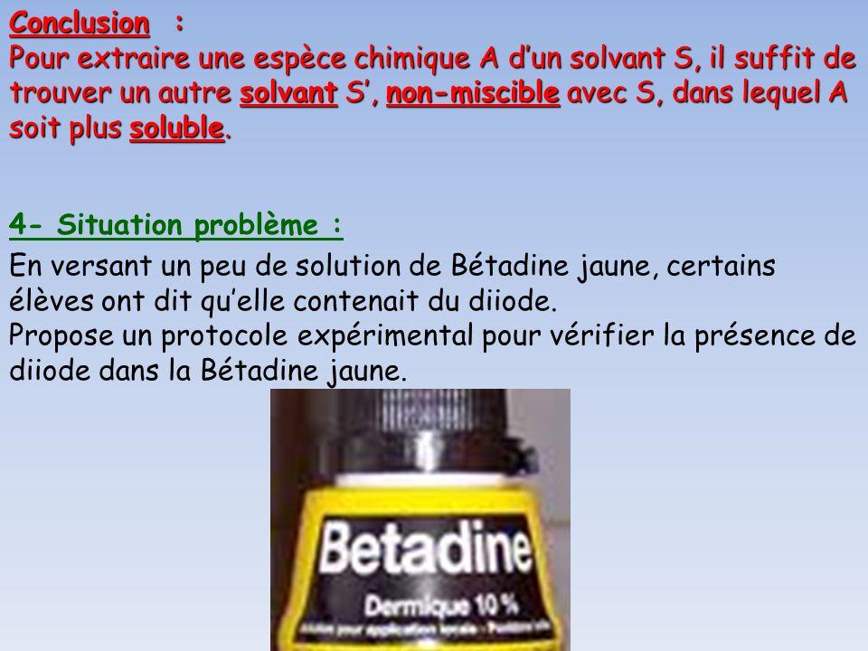 4- Situation problème : En versant un peu de solution de Bétadine jaune, certains élèves ont dit quelle contenait du diiode. Propose un protocole expé