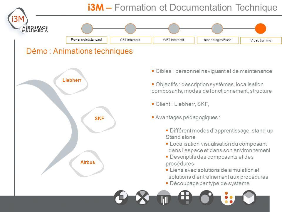 Cibles : personnel naviguant et de maintenance Objectifs : description systèmes, localisation composants, modes de fonctionnement, structure Client :