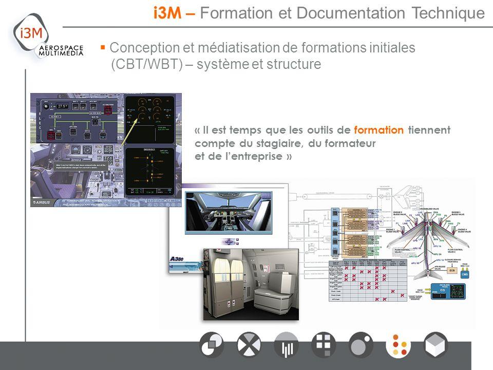 Conception et médiatisation de formations initiales (CBT/WBT) – système et structure « Il est temps que les outils de formation tiennent compte du stagiaire, du formateur et de lentreprise » i3M – Formation et Documentation Technique