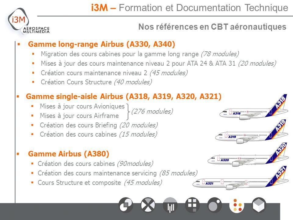 i3M – Processus de développement dun cours 2 Nos références en CBT aéronautiques Gamme long-range Airbus (A330, A340) Migration des cours cabines pour la gamme long range (78 modules) Mises à jour des cours maintenance niveau 2 pour ATA 24 & ATA 31 (20 modules) Création cours maintenance niveau 2 (45 modules) Création Cours Structure (40 modules) i3M – Formation et Documentation Technique Gamme single-aisle Airbus (A318, A319, A320, A321) Mises à jour cours Avioniques Mises à jour cours Airframe Création des cours Briefing (20 modules) Création des cours cabines (15 modules) Gamme Airbus (A380) Création des cours cabines (90modules) Création des cours maintenance servicing (85 modules) Cours Structure et composite (45 modules) (276 modules)