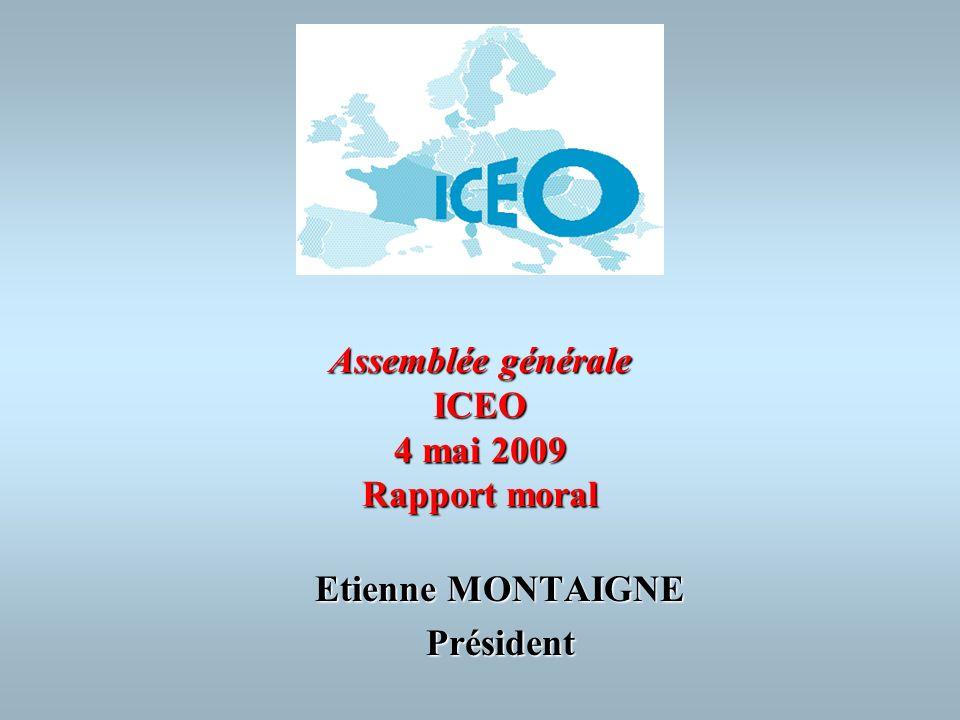 Assemblée générale ICEO 4 mai 2009 Rapport moral Etienne MONTAIGNE Président