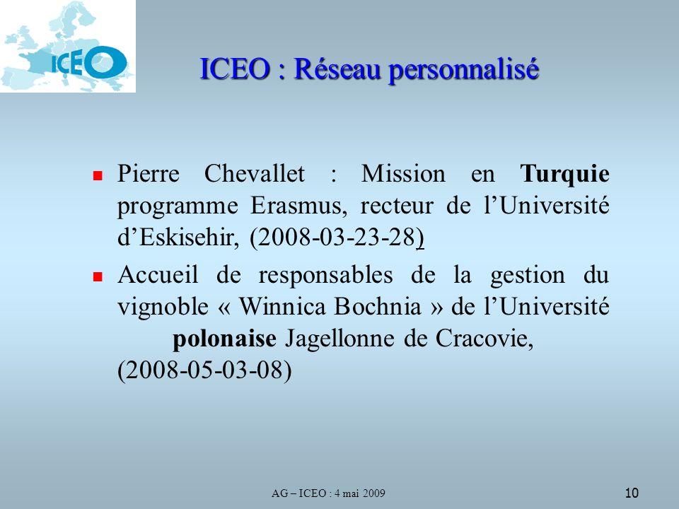 AG – ICEO : 4 mai 2009 10 ICEO : Réseau personnalisé Pierre Chevallet : Mission en Turquie programme Erasmus, recteur de lUniversité dEskisehir, (2008-03-23-28) Accueil de responsables de la gestion du vignoble « Winnica Bochnia » de lUniversité polonaise Jagellonne de Cracovie, (2008-05-03-08)