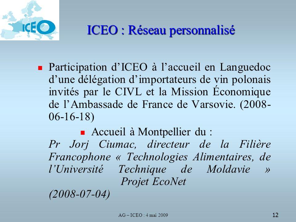 AG – ICEO : 4 mai 2009 12 ICEO : Réseau personnalisé Participation dICEO à laccueil en Languedoc dune délégation dimportateurs de vin polonais invités par le CIVL et la Mission Économique de lAmbassade de France de Varsovie.