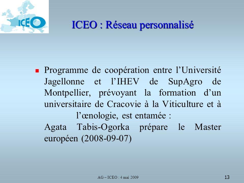 AG – ICEO : 4 mai 2009 13 ICEO : Réseau personnalisé Programme de coopération entre lUniversité Jagellonne et lIHEV de SupAgro de Montpellier, prévoyant la formation dun universitaire de Cracovie à la Viticulture et à lœnologie, est entamée : Agata Tabis-Ogorka prépare le Master européen (2008-09-07)