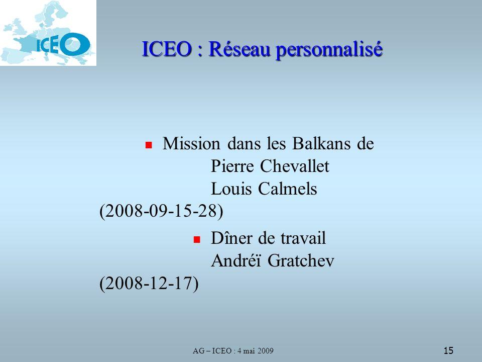 AG – ICEO : 4 mai 2009 15 ICEO : Réseau personnalisé Mission dans les Balkans de Pierre Chevallet Louis Calmels (2008-09-15-28) Dîner de travail Andréï Gratchev (2008-12-17)