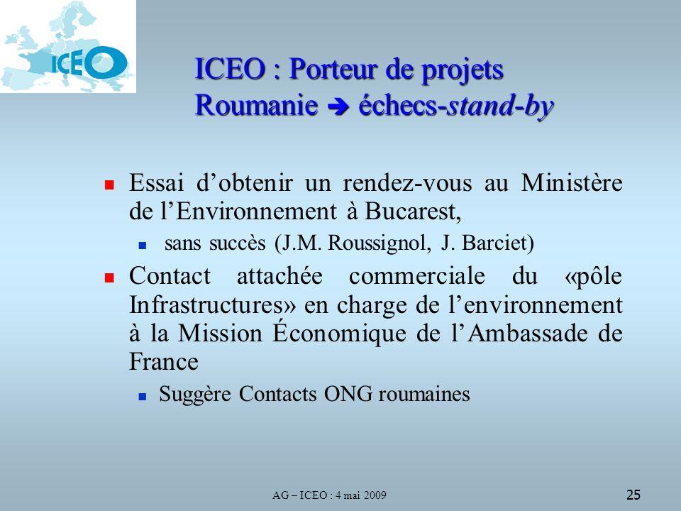 AG – ICEO : 4 mai 2009 25 Essai dobtenir un rendez-vous au Ministère de lEnvironnement à Bucarest, sans succès (J.M.