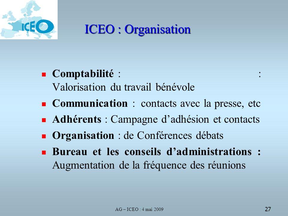 AG – ICEO : 4 mai 2009 27 ICEO : Organisation Comptabilité : : Valorisation du travail bénévole Communication : contacts avec la presse, etc Adhérents : Campagne dadhésion et contacts Organisation : de Conférences débats Bureau et les conseils dadministrations : Augmentation de la fréquence des réunions