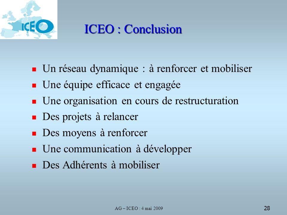 AG – ICEO : 4 mai 2009 28 ICEO : Conclusion Un réseau dynamique : à renforcer et mobiliser Une équipe efficace et engagée Une organisation en cours de restructuration Des projets à relancer Des moyens à renforcer Une communication à développer Des Adhérents à mobiliser