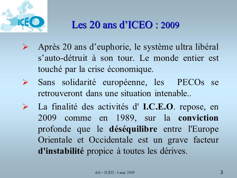 AG – ICEO : 4 mai 2009 3 Les 20 ans dICEO : 2009 Après 20 ans deuphorie, le système ultra libéral sauto-détruit à son tour.