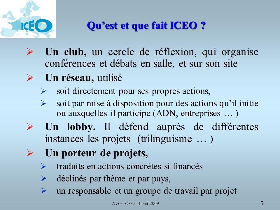 AG – ICEO : 4 mai 2009 5 Quest et que fait ICEO .