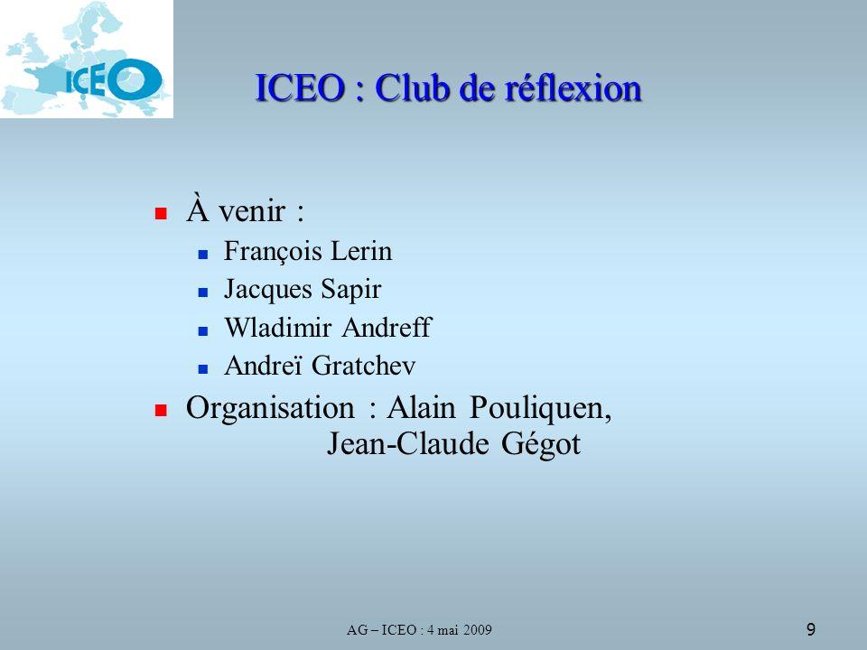 9 ICEO : Club de réflexion À venir : François Lerin Jacques Sapir Wladimir Andreff Andreï Gratchev Organisation : Alain Pouliquen, Jean-Claude Gégot