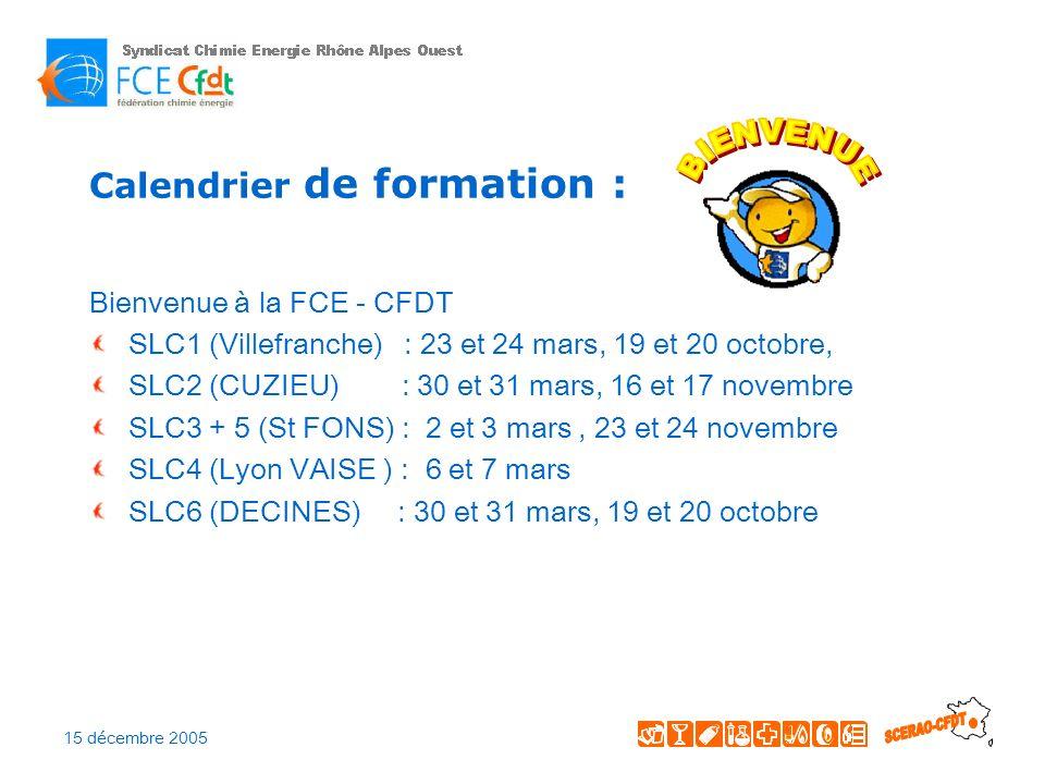 15 décembre 2005 Calendrier de formation : IVS (sur Lyon) : 7, 8 et 9 février et 20, 21 et 22 septembre formation tract + micro module : 15 et 16 mai (SLC4 – VAISE) TEQ : 30 et 31 mars 31 mai et 1er juin 26 et 27 septembre (Loire) 12 et 13 octobre