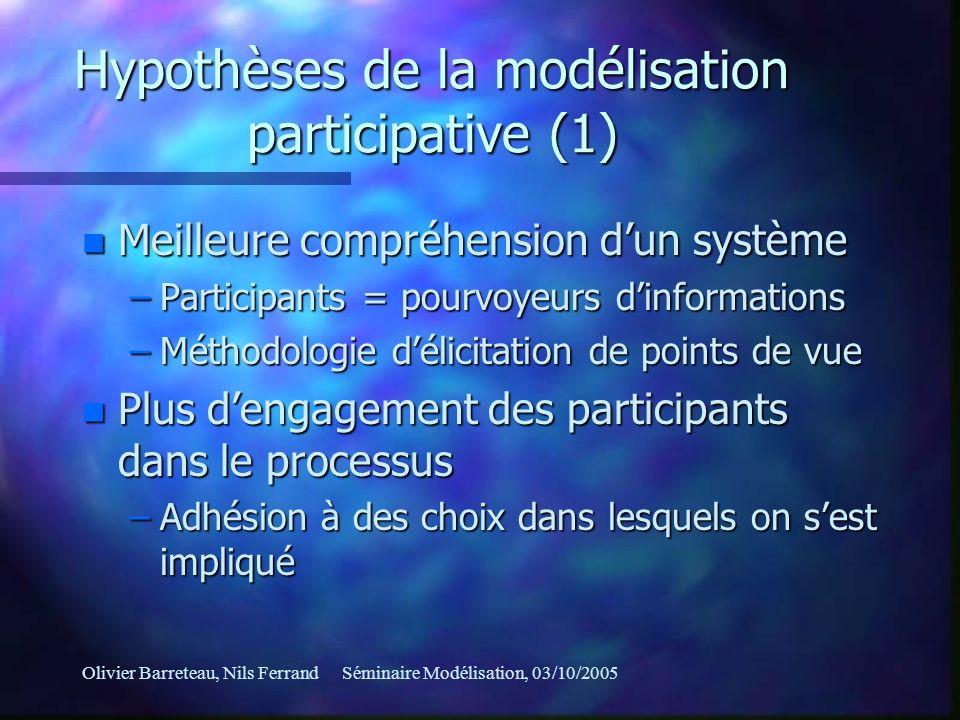 Olivier Barreteau, Nils FerrandSéminaire Modélisation, 03/10/2005 Hypothèses de la modélisation participative (1) n Meilleure compréhension dun systèm