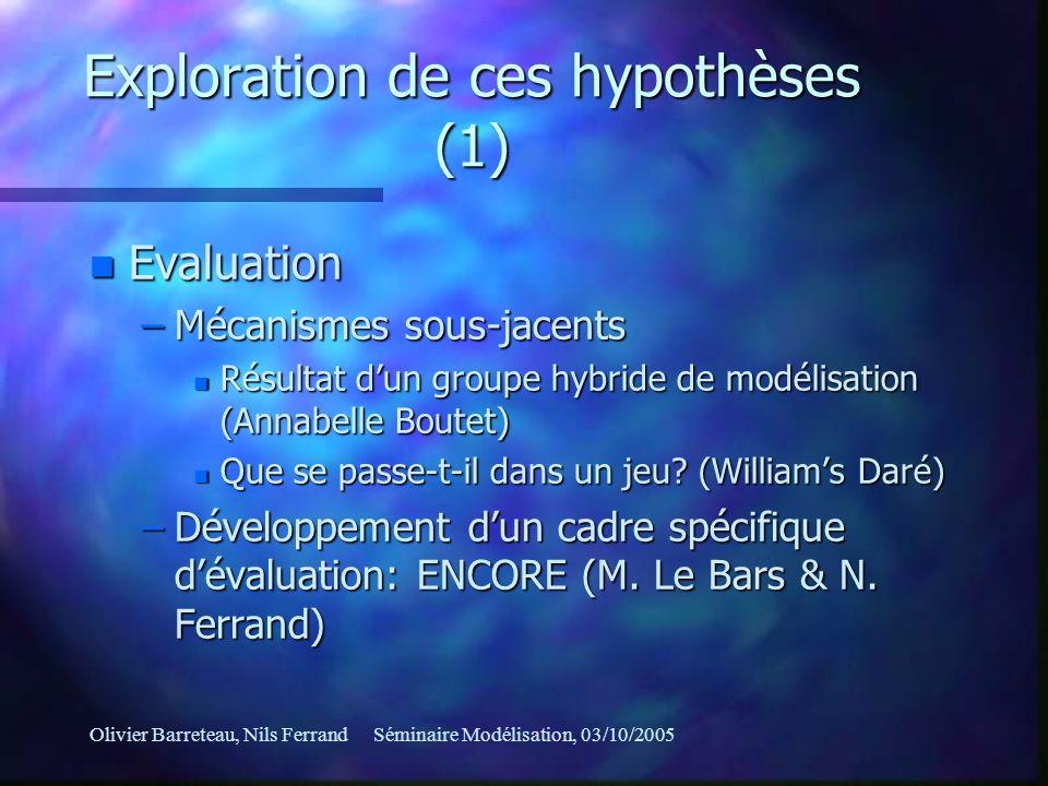 Olivier Barreteau, Nils FerrandSéminaire Modélisation, 03/10/2005 Exploration de ces hypothèses (1) n Evaluation –Mécanismes sous-jacents n Résultat d
