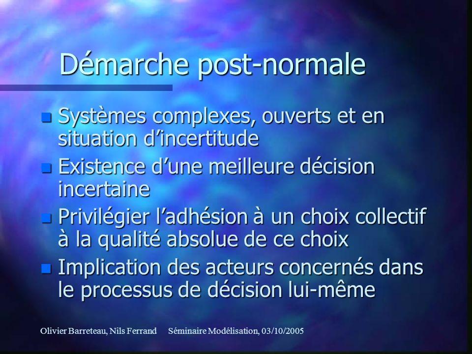 Olivier Barreteau, Nils FerrandSéminaire Modélisation, 03/10/2005 Démarche post-normale n Systèmes complexes, ouverts et en situation dincertitude n E