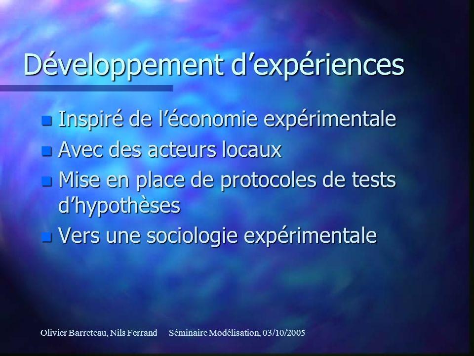 Olivier Barreteau, Nils FerrandSéminaire Modélisation, 03/10/2005 Développement dexpériences n Inspiré de léconomie expérimentale n Avec des acteurs l