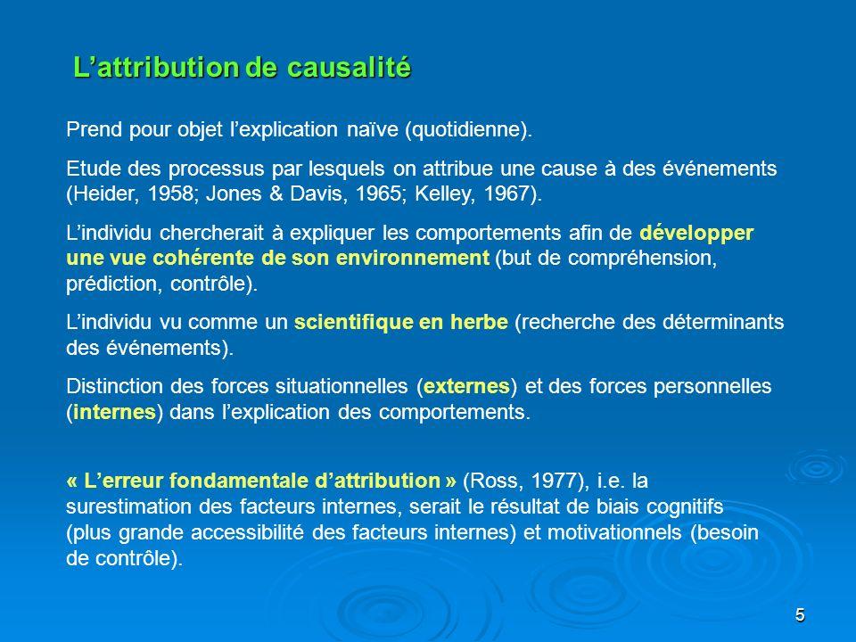 5 Lattribution de causalité Prend pour objet lexplication naïve (quotidienne). Etude des processus par lesquels on attribue une cause à des événements