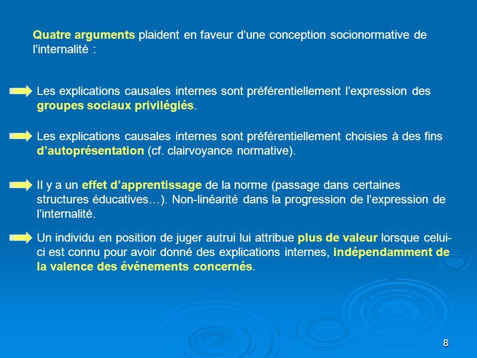 8 Quatre arguments plaident en faveur dune conception socionormative de linternalité : Les explications causales internes sont préférentiellement lexp