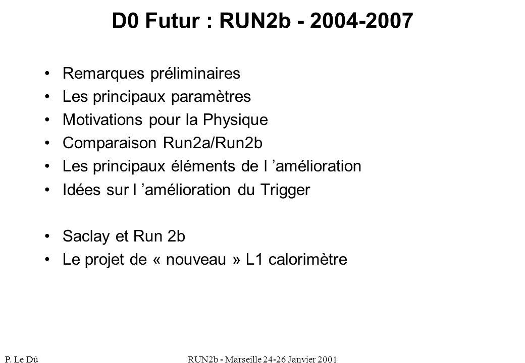 P. Le DûRUN2b - Marseille 24-26 Janvier 2001 D0 Futur : RUN2b - 2004-2007 Remarques préliminaires Les principaux paramètres Motivations pour la Physiq