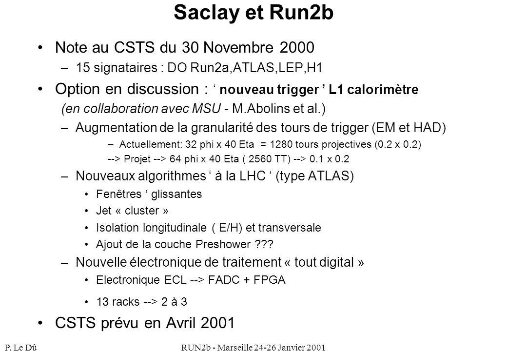 P. Le DûRUN2b - Marseille 24-26 Janvier 2001 Saclay et Run2b Note au CSTS du 30 Novembre 2000 –15 signataires : DO Run2a,ATLAS,LEP,H1 Option en discus