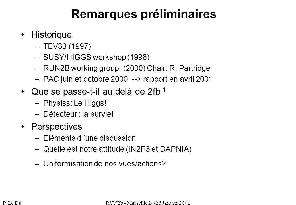 P. Le DûRUN2b - Marseille 24-26 Janvier 2001 Remarques préliminaires Historique –TEV33 (1997) –SUSY/HIGGS workshop (1998) –RUN2B working group (2000)