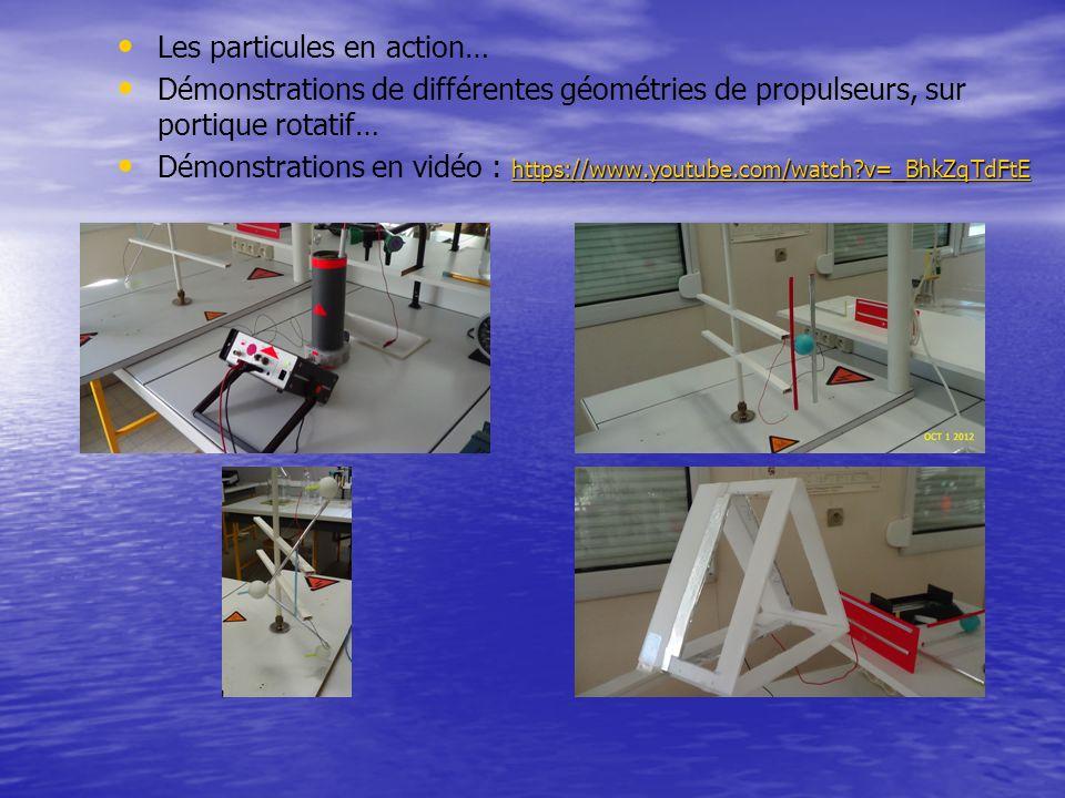 Les particules en action… Démonstrations de différentes géométries de propulseurs, sur portique rotatif… https://www.youtube.com/watch?v=_BhkZqTdFtE D