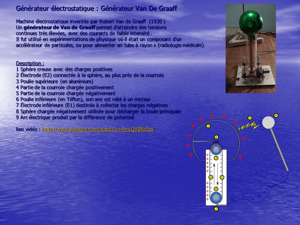 Générateur électrostatique : Générateur Van De Graaff Machine électrostatique inventée par Robert Van de Graaff (1930 ) Un générateur de Van de Graaff