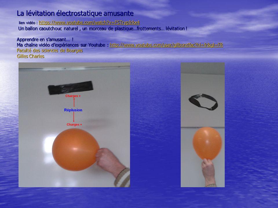 La lévitation électrostatique amusante lien vidéo : https://www.youtube.com/watch?v=FSTrypIrkx4 Un ballon caoutchouc naturel, un morceau de plastique…