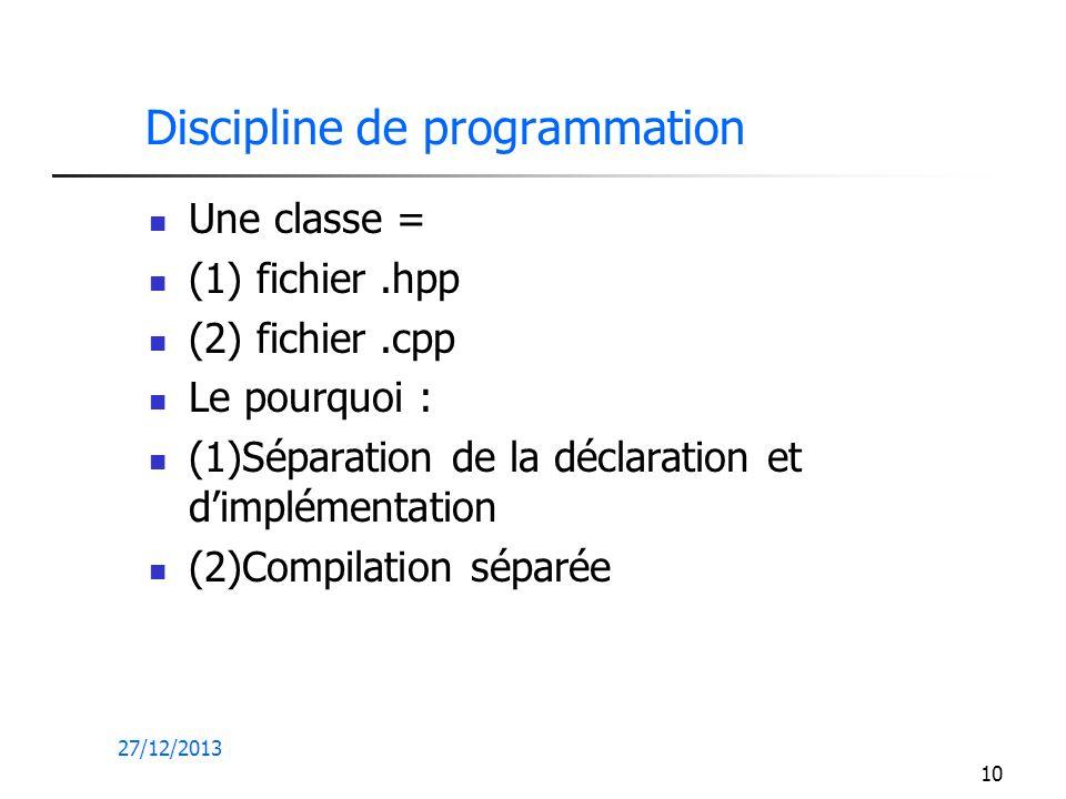 27/12/2013 10 Discipline de programmation Une classe = (1) fichier.hpp (2) fichier.cpp Le pourquoi : (1)Séparation de la déclaration et dimplémentatio