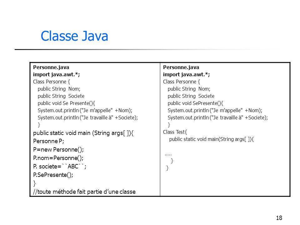 18 Classe Java Personne.java import java.awt.*; Class Personne { public String Nom; public String Societe public void Se Presente(){ System.out.printl