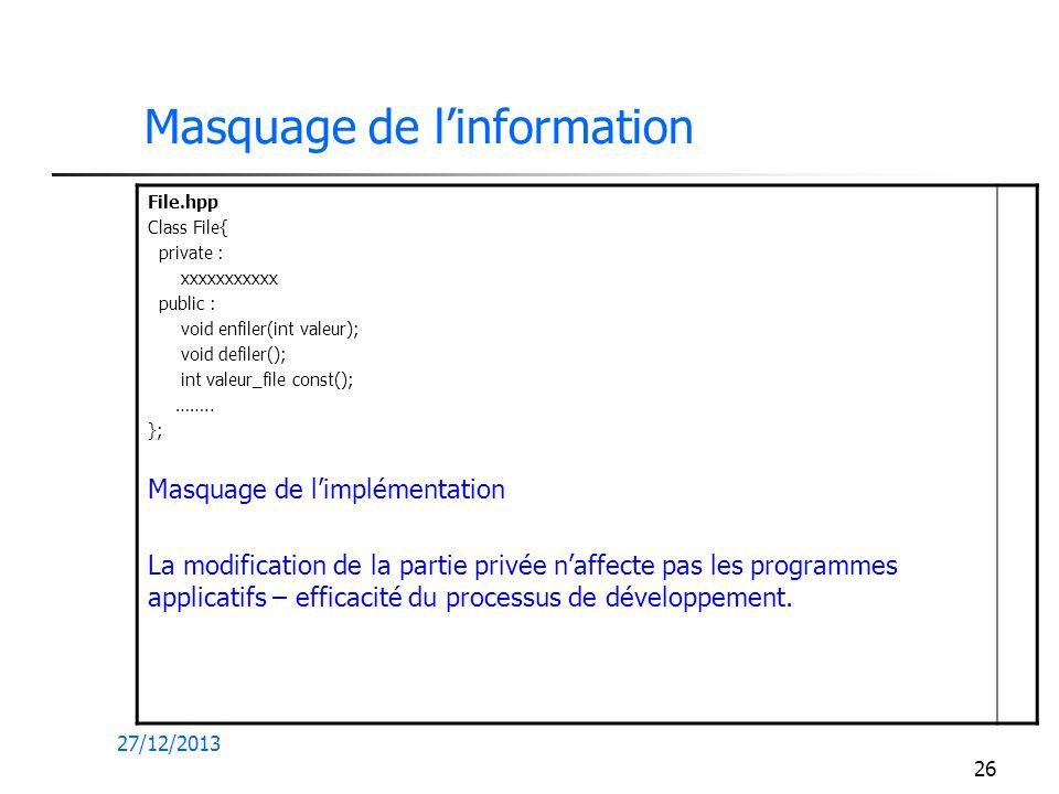 27/12/2013 26 Masquage de linformation File.hpp Class File{ private : xxxxxxxxxxx public : void enfiler(int valeur); void defiler(); int valeur_file c