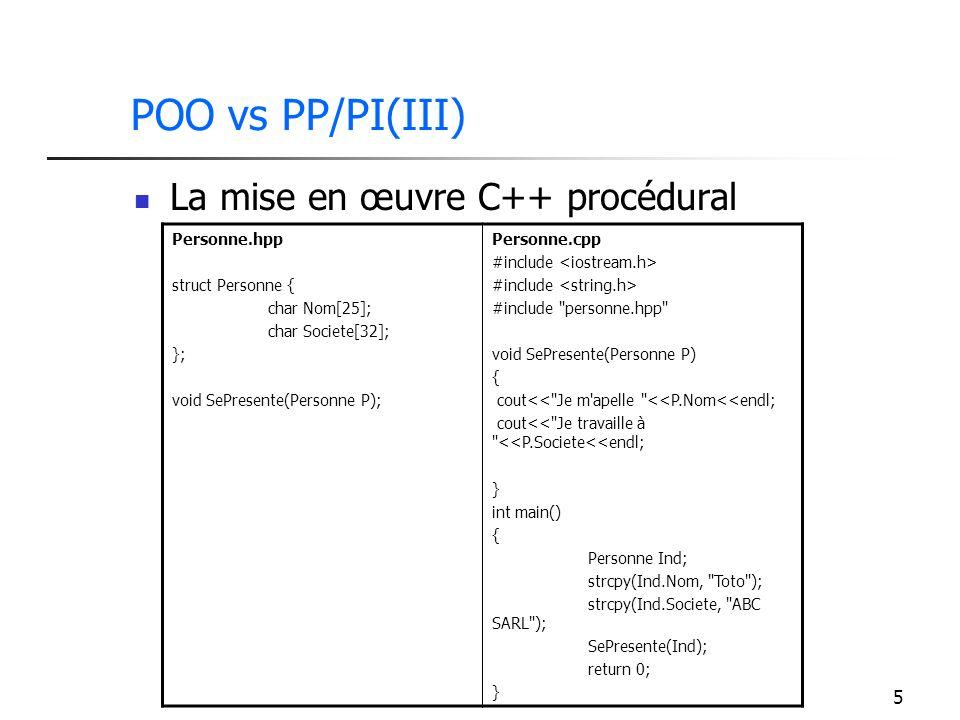 5 POO vs PP/PI(III) La mise en œuvre C++ procédural Personne.hpp struct Personne { char Nom[25]; char Societe[32]; }; void SePresente(Personne P); Per
