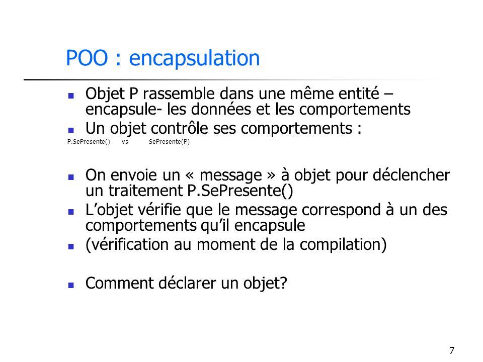 7 POO : encapsulation Objet P rassemble dans une même entité – encapsule- les données et les comportements Un objet contrôle ses comportements : P.SeP