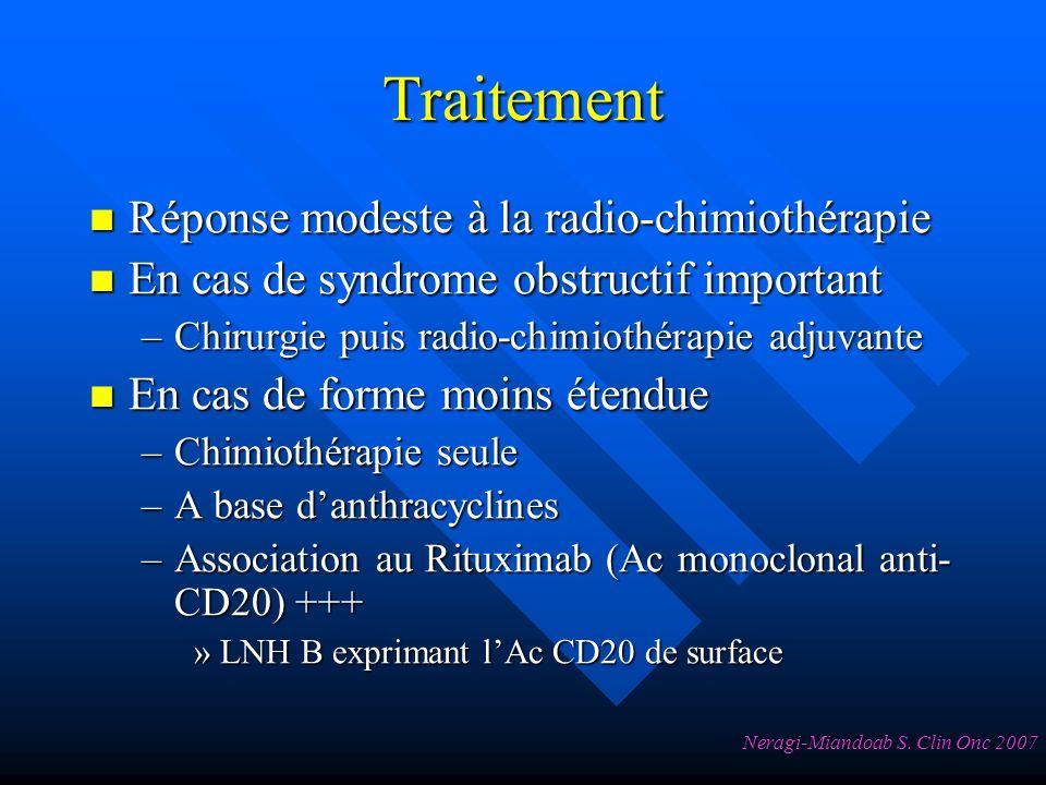 Traitement Réponse modeste à la radio-chimiothérapie Réponse modeste à la radio-chimiothérapie En cas de syndrome obstructif important En cas de syndrome obstructif important –Chirurgie puis radio-chimiothérapie adjuvante En cas de forme moins étendue En cas de forme moins étendue –Chimiothérapie seule –A base danthracyclines –Association au Rituximab (Ac monoclonal anti- CD20) +++ »LNH B exprimant lAc CD20 de surface Neragi-Miandoab S.